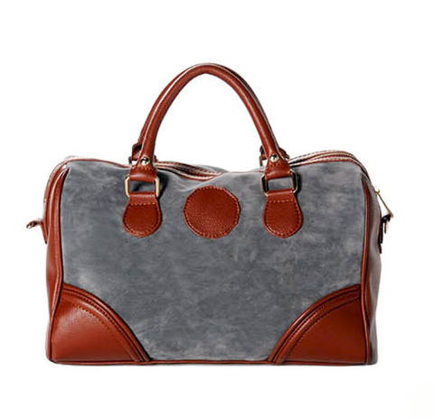 TWO,TONE,BOWLING,BAG,BOWLING BAG, GREY SHOULDER BAG, GREY BOWLING BAG, VILLUS AND LEATHER BOWLING SHOULDER BAG