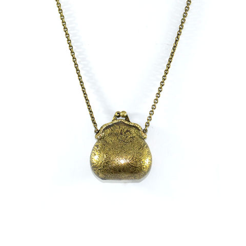 VINTAGE,PURSE,NECKLACE,PURSE NECKLACE, VINTAGE GOLD PENDANT NECKLACE, VINTAGE STYLE PURSE NECKLACE, CLIP PURSE PENDANT NECKLACE, VINTAGE GOLD PURSE PENDANT NECKLACE