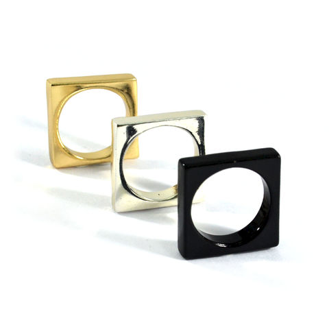 MINIMAL,SQUARE,RING,SQUARE RING, METALLIC SQUARE RING, GOLD SQUARE RING, SILVER SQUARE RING, BLACK SQUARE RING, GOLD METALLIC SQUARE RING