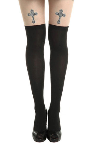 CROSS,TATTOO,TIGHTS,cross suspender tights, fake tattoo suspender tights,fake cross tattoo suspender tights