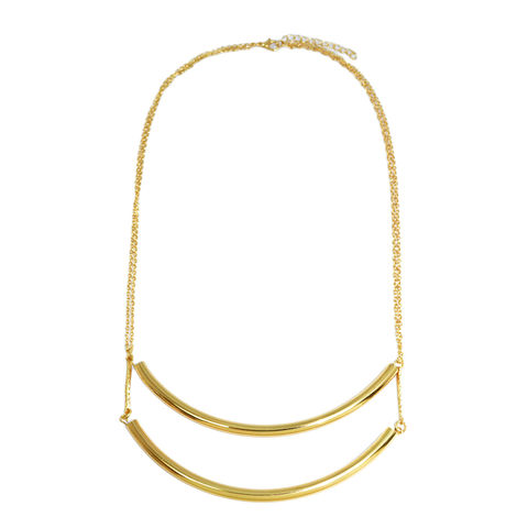 CURVE,TUBE,COLLAR,NECKLACE,tube necklace, PARALLEL TUBE NECKLACE, GOLD CURVE TUBE NECKLACE