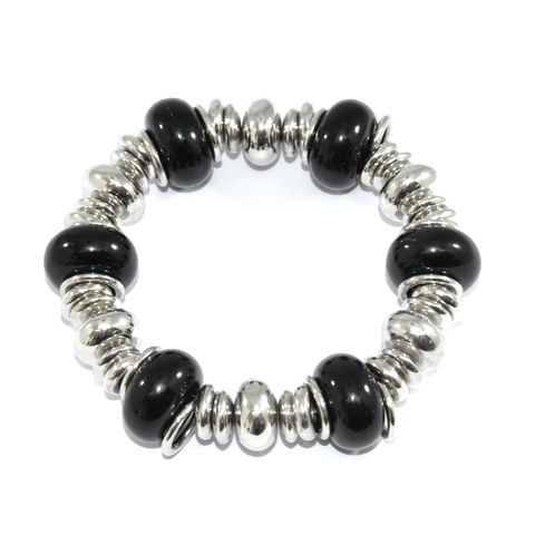 BLACK,AND,SILVER,BEADS,BRACELET,BLACK BEADS ELASTIC BRACELET, BLACK AND SILVER CHARMS BRACELET, MULTI BEADS ELASTIC BRACELET