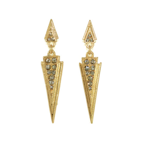 CRYSTAL,DAGGER,DROP,EARRINGS,DAGGER EARRINGS, TRIANGLE EARRINGS, GOLD TRIANGLE EARRINGS, CRYSTAL TRIANGLE EARRINGS