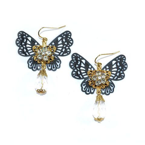 HOLLOW,PATTERN,BUTTERFLY,WITH,CRYSTAL,DROP,EARRINGS,BUTTERFLY EARRINGS, HOLLOW BUTTERFLY EARRINGS, CRYSTAL BUTTERFLY EARRING