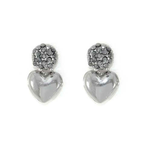 CRYSTAL,BALL,AND,HEART,EARRINGS,HEART EARRINGS, SILVER HEART EARRINGS, CRYSTAL BALL EARRINGS, METALLIC HEART EARRINGS