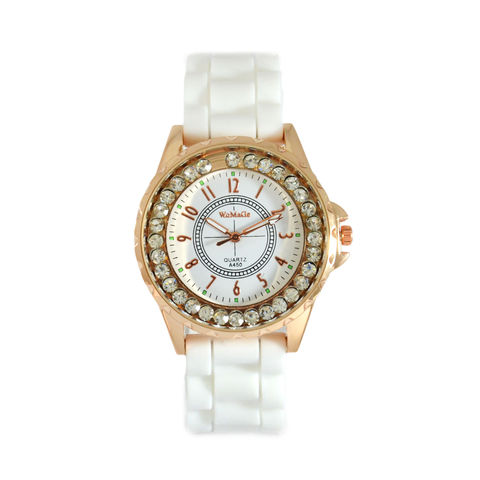 CRYSTAL,EDGE,WATCH,CRYSTAL WATCH, WHITE WATCH, GOLD EDGE WATCH, CRYSTAL DECOR EDGE WATCH