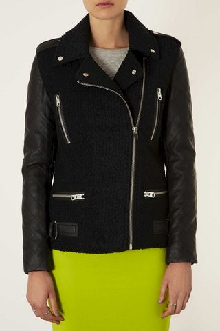 LONG,CONTRAST,SLEEVE,JACKET,CONTRAST SLEEVE COAT, LEATHER SLEEVE COAT, BLACK CONTRAST LEATHER SLEEVE COAT