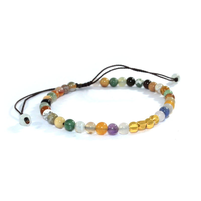NATURAL STONE WITH 24K GOLD PLATED BEADS BRACELET - product image