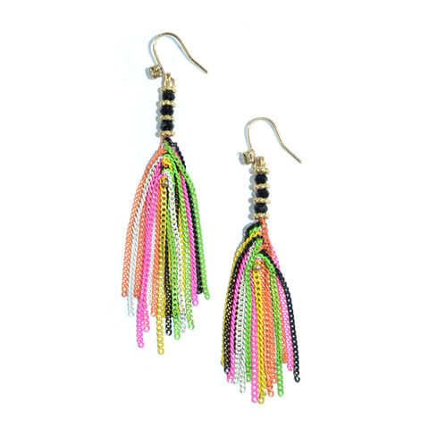 BEADS,AND,CHAIN,TASSELS,DROP,EARRINGS,CHAIN TASSELS EARRING, COLORFUL CHAIN TASSEL DROP EARRINGS, COLOUR TASSEL EARRINGS