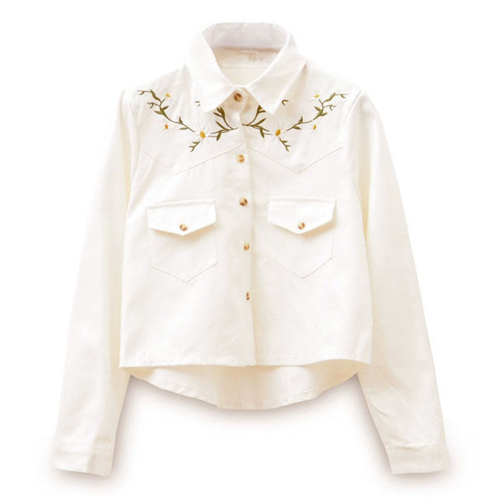 LEAVES AND FLOWER EMBROIDERY SHIRT - product image