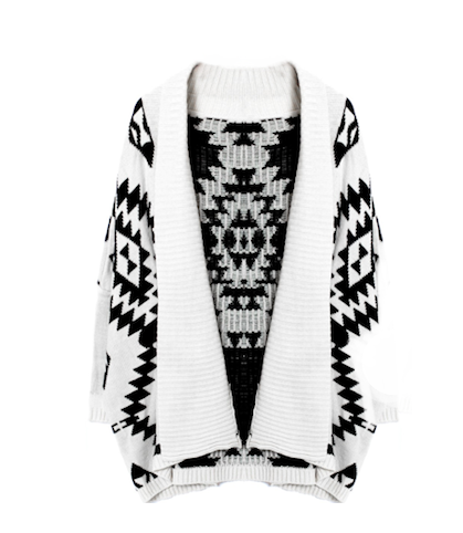 AZTEC PATTERN SHAWL CARDIGAN - product image