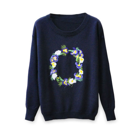 EMBROIDERY,FLOWERS,KNITTED,SWEATER,KNITTED SWEATER,EMBROIDERY FLOWERS PATTERN KNITTED SWEATER, NAVY EMBROIDERY FLOWERS KNITTED SWEATER