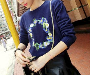 EMBROIDERY FLOWERS KNITTED SWEATER - product image