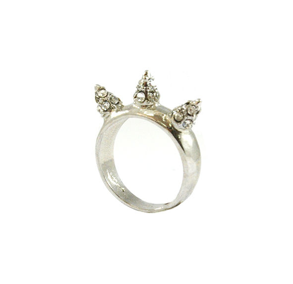 TRIPLE CRYSTAL SPIKES RING - product image