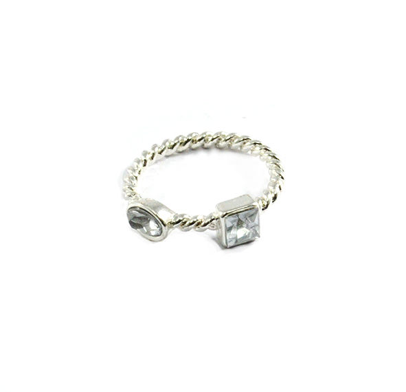 SILVER TONE STRAP WITH CRYSTALS RING - product image