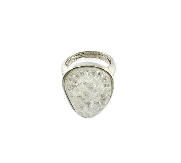 SILVER TONE OVAL CRYSTAL RING - product image