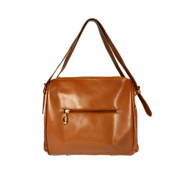 DOUBLE ZIPS FAUX LEATHER BAG - product image