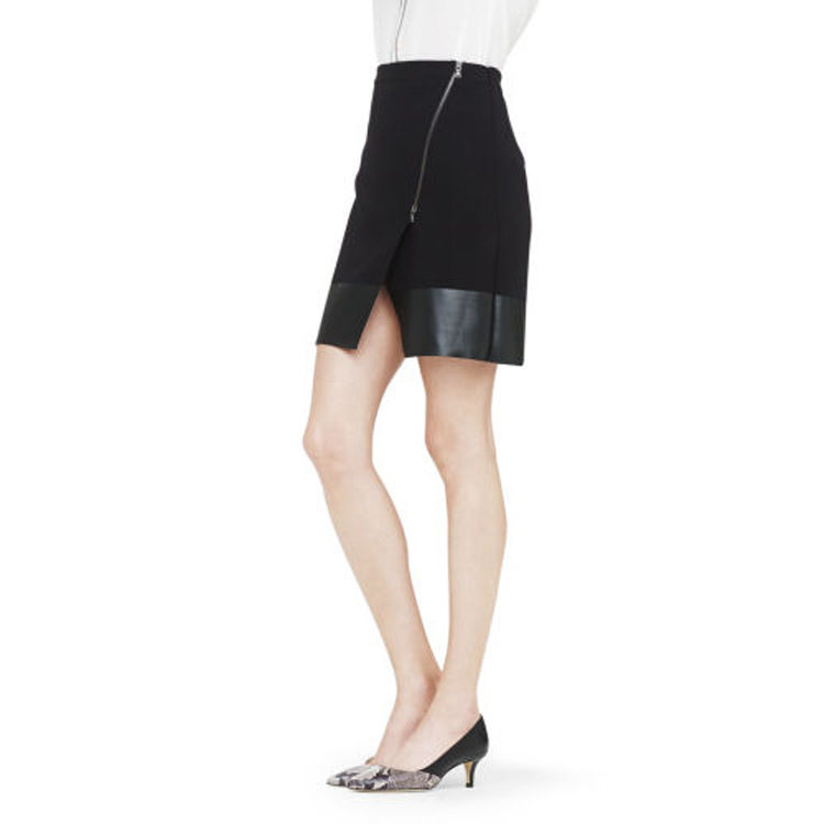 LEATHER LOOK SKIRT WITH ZIP - product image