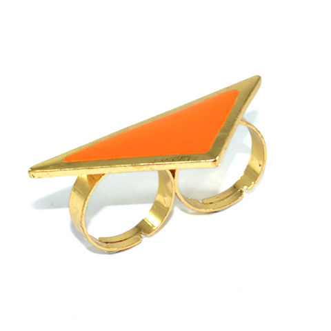 TRIANGLE,RING,TRIANGLE PENDANT RING, TRIANGLE DOUBLE RING, GOLD AND ORANGE DOUBLE RING