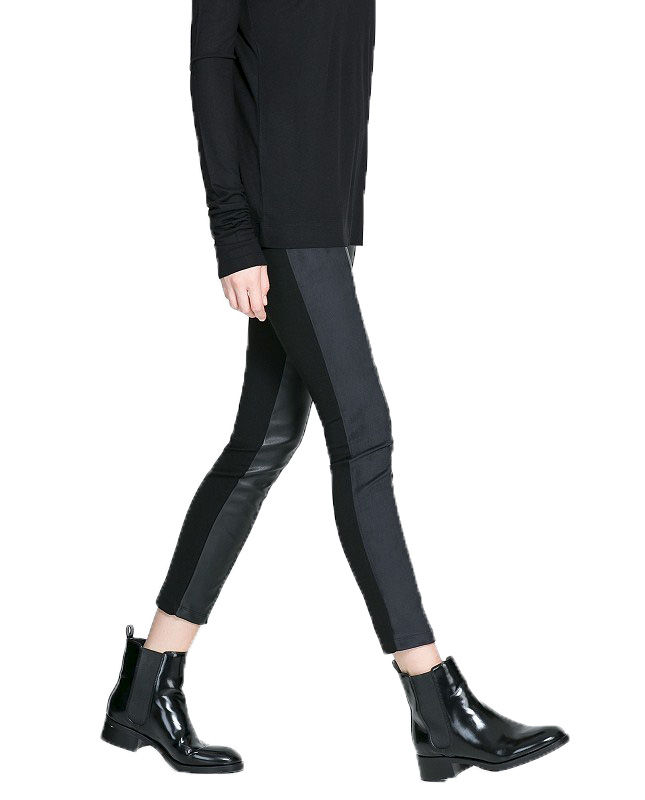 LEATHER LOOK PANEL LEGGINGS - product image