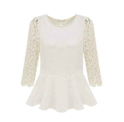 LACE,SLEEVES,TOP,splice lace sleeves top, LACE SLEEVES DRESS, WHITE LACE SLEEVES TOP