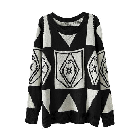 ZIGZAG,PATTERN,JUMPER,BEIGE LONG SLEEVE GEOMETRIC PATTERN SWEATER, BLACK AND WHITE GEOMETRIC PATTERN SWEATER, BLACK AND WHITE ZIGZAG PATTERN JUMPER