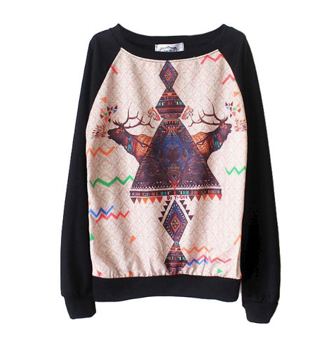 DEER,JUMPER,DEER PRINT JUMPER, AZTEC PATTERN AND DEER PRINT JUMPER, AZTEC PATTERN JUMPER, COLOURFUL AZTEC PATTERN JUMPER, COLORFUL AZTEC PATTERN AND DEER JUMPER