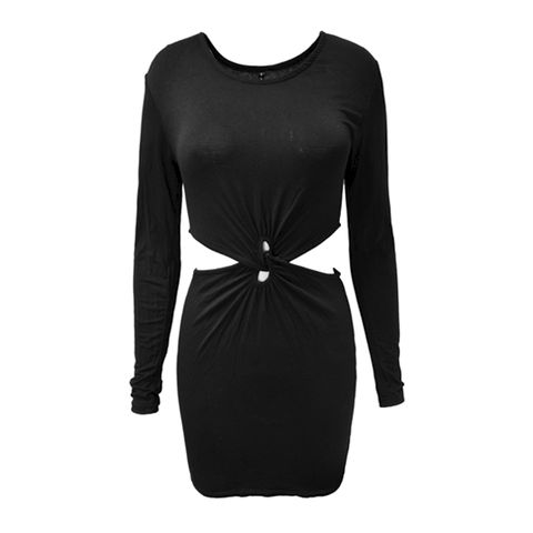 SLIM,DRESS,WITH,CUT,OUT,WAIST,KNOT DRESS, KNOT DESIGN DRESS, KNOT DETAIL LONG SLEEVE DRESS,BLACK KNOT DRESS