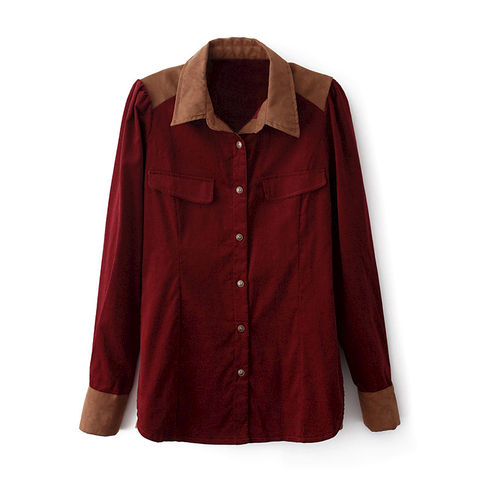 CORDUROY,SHIRT,TWO TONE CORDUROY SHIRT, VINTAGE STYLE CORDUROY SHIRT, CORDUROY COLLAGE SHIRT