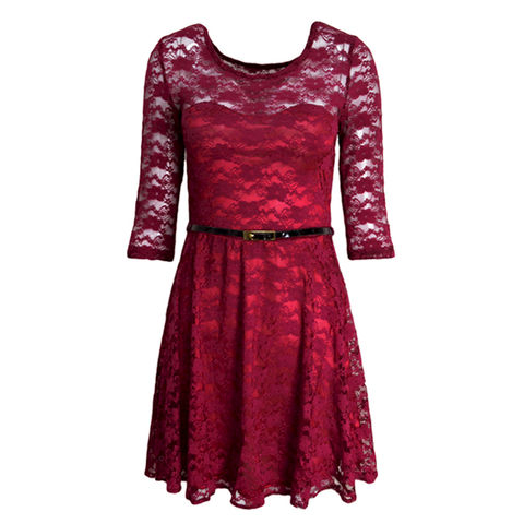 LACE,DRESS,WITH,BELT,LACE DRESS, WINE RED LACE DRESS, IVORY LACE DRESS, WINE RED LAYER LACE DRESS, IVORY LAYER LACE DRESS