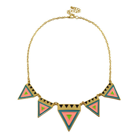 MULTI,AZTEC,TRIANGLES,NECKLACE,TRIANGLE NECKLACE, AZTEC TRIANGLE NECKLACE, COLOURFUL TRIANGLE NECKLACE, TRIANGLE PENDANT BIB NECKLACE