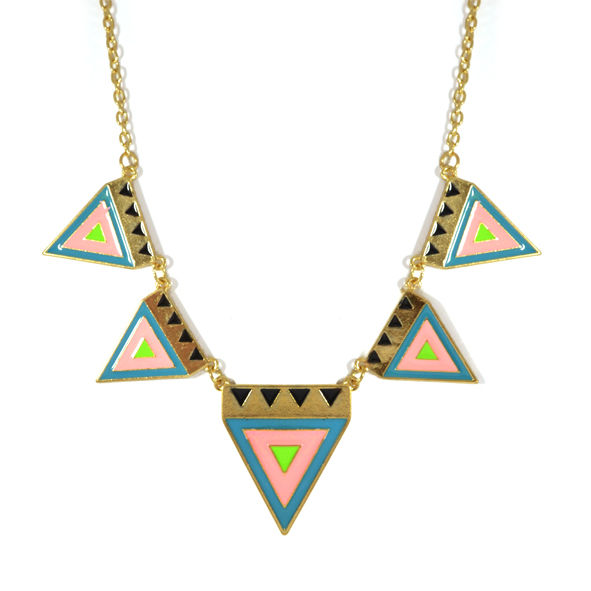 MULTI AZTEC TRIANGLES NECKLACE - product image
