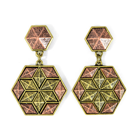 HEXAGON,SWINGS,EARRINGS,VINTAGE PATTERN EARRINGS, VINTAGE HEXAGON EARRINGS, RHOMBUS STUD EARRINGS, HEXAGONAL EARRINGS, VINTAGE HEXAGONAL PATTERN EARRINGS