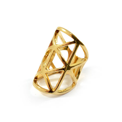 CAGE,RING,HOLLOW TRIANGLE RING, HOLLOW CAGE RING, GOLD HOLLOW PATTERN RING
