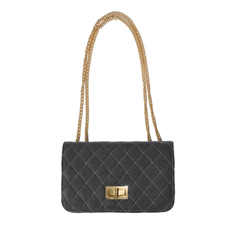 VELVET,QUILTED,LOCK,CROSS,BODY,BAG,QUILTED CROSS BODY BAG, BLACK QUILTED SHOULDER BAG, GREY QUILTED SHOULDER BAG, VELVET CROSS BODY BAG, GOLD CHAIN VELVET BAG
