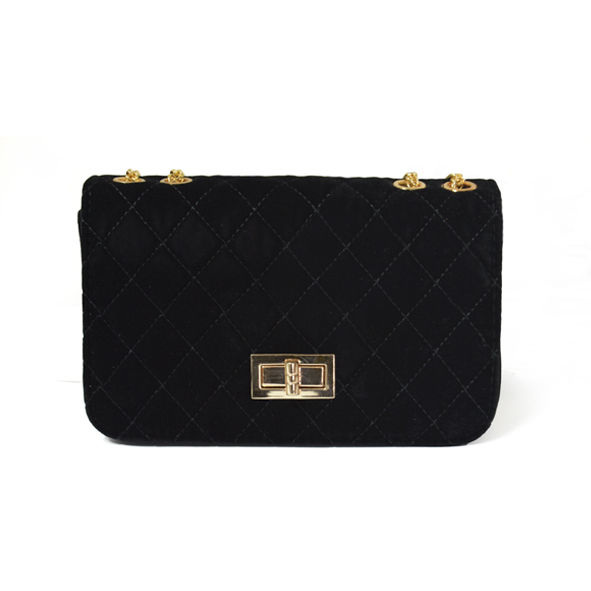 VELVET QUILTED LOCK CROSS BODY BAG - product image