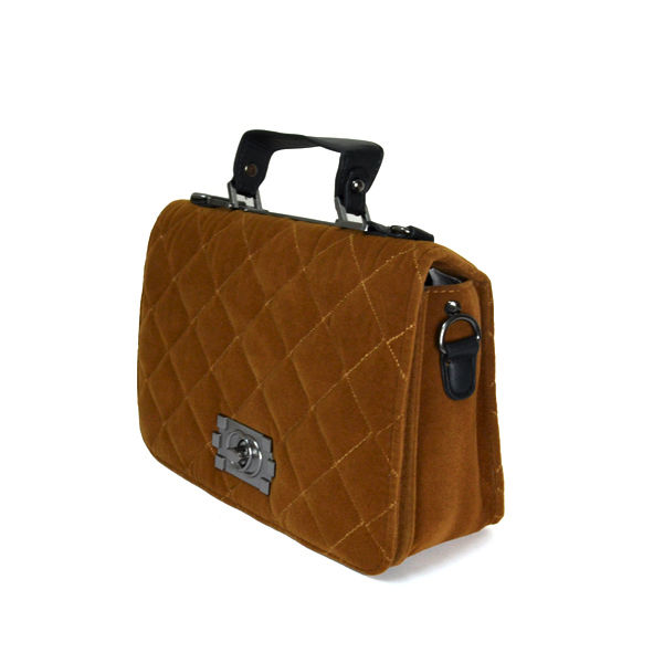 VELVET QUILT AND LOCK CROSS BODY BAG - product image