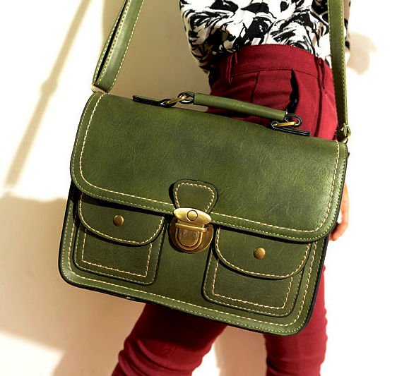 VINTAGE DOUBLE POCKET SATCHEL BAG - product image