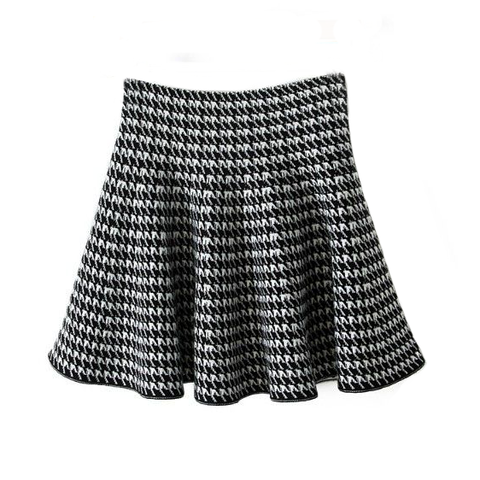HOUNDSTOOTH,SKIRT,HIGH WAIST SKIRT, Black and White HIGH WAIST SKIRT, HOUNDSTOOTH HIGH WAIST SKIRT, PATTERN HIGH WAIST SKIRT