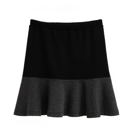 TWO,TONE,PLEATED,SKIRT,MINIMAL PLEATED SKIRT, BLACK SKIRT, GREY SKIRT, BLACK AND GREY HIGH WAIST SKIRT