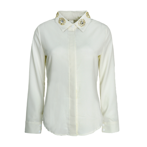 CRYSTAL,DETAIL,COLLAR,SHIRT,CHIFFON SHIRT, CRYSTAL DECOR CHIFFON SHIRT, WHITE CHIFFON SHIRT, CRYSTAL COLLAR SHIRT