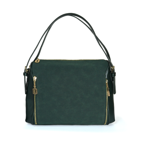 DOUBLE,ZIP,SHOULDER,BAG,DARK GREEN SHOULDER BAG, MULTI WAY BAG, DARK GREEN HANG BAG, ZIPPER BAG, DARK GREEN SIDE ZIP BAG, DARK GREEN LEATHER BAG