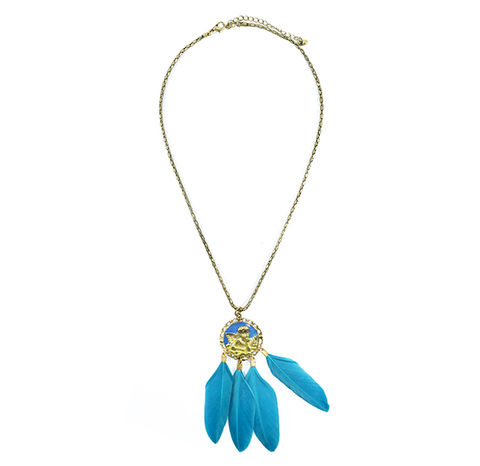 VINTAGE,STYLE,ANGEL,MEDAL,WITH,BLUE,GREEN,FEATHER,NECKLACE