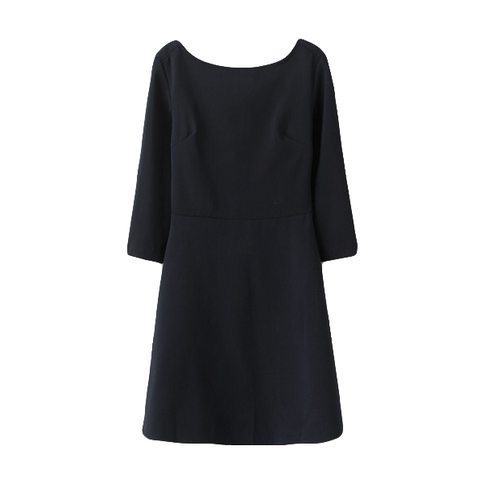 CROSSOVER,BACK,DRESS,MID-SLEEVE DRESS, CROSS BACK DRESS, BLUE MID-SLEEVE DRESS, CROSSOVER BACK MID-SLEEVE DRESS