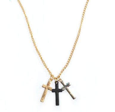 TRIPLE,CROSS,NECKLACE