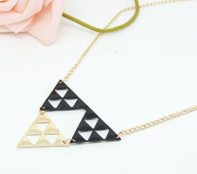 TWO TONE TRIPLE TRIANGLE NECKLACE - product image