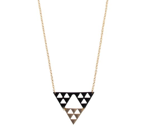 TWO,TONE,TRIPLE,TRIANGLE,NECKLACE,TRIANGLE NECKLACE, TWO TONE TRIANGLE NECKLACE, BLACK AND GOLD TRIANGLE NECKLACE, TRIPLE TRIANGLE PENDANT NECKLACE