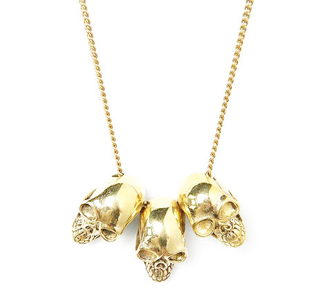 GOLD,TONE,TRIPLE,SKULL,HEAD,NECKLACE