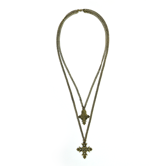 AZTEC PATTERN CROSS NECKLACE - product image