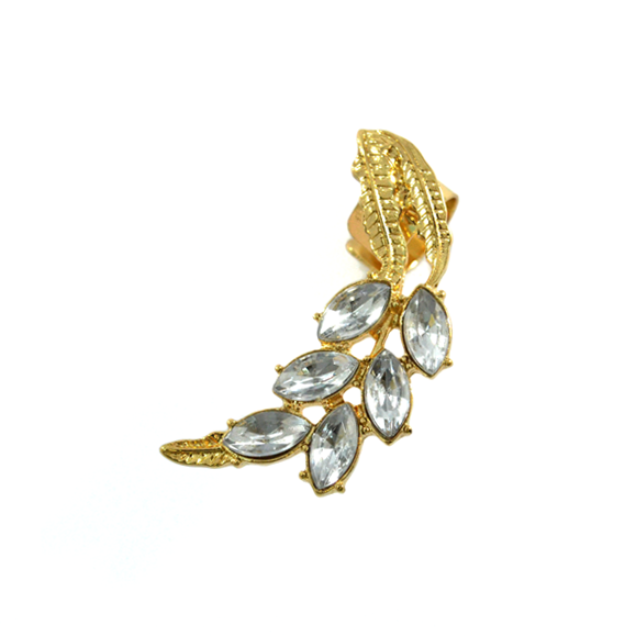 LEAF WITH CRYSTAL EAR CUFF - product image